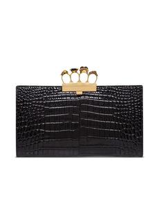 Alexander McQueen Four Rings Skull Clutch In Crocodile Print Leather