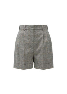 Alexander McQueen Pleated Prince of Wales-check wool-blend shorts