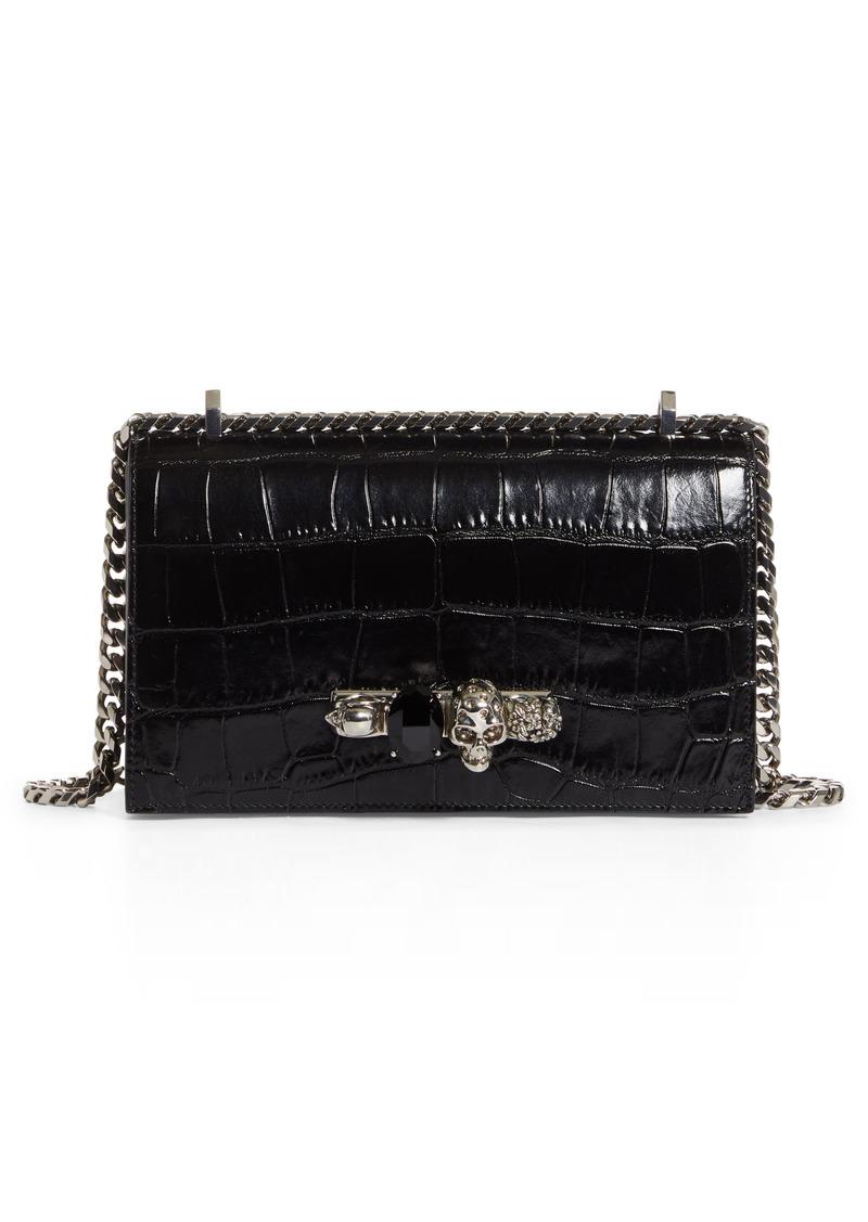 Alexander McQueen Jeweled Croc Embossed Leather Crossbody Bag