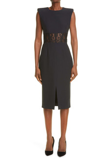 Alexander McQueen Lace Corset Crêpe Sheath Dress