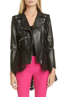 Alexander McQueen Lace Peplum Leather Moto Jacket