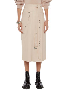 Alexander McQueen Lambskin Leather Belted A-Line Midi Skirt
