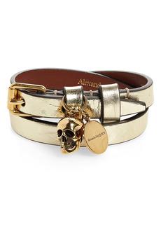 Alexander McQueen Metallic Double Wrap Bracelet