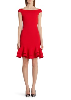 Alexander McQueen Off the Shoulder Ruffle Hem Rib Sweater Dress