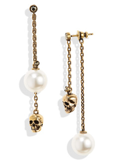 Alexander McQueen Pearly Skull Mismatched Front/Back Earrings