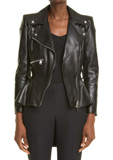 Alexander McQueen Peplum Leather Moto Jacket