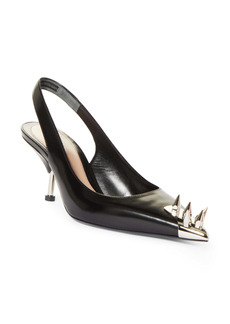 Alexander McQueen Punk Spike Pointed Toe Slingback Pump (Women)