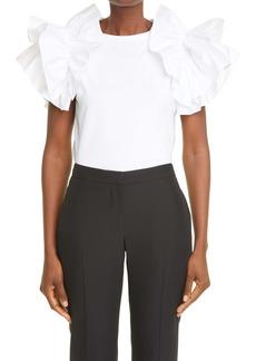 Alexander McQueen Ruffle Sleeve Jersey T-Shirt