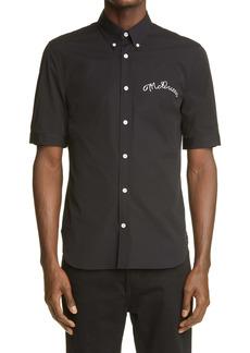 Alexander McQueen Script Stitch Short Sleeve Button-Down Shirt
