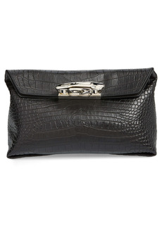Alexander McQueen Sculptural Knuckle Clasp Croc Embossed Leather Clutch