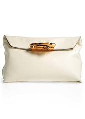 Alexander McQueen Sculptural Knuckle Clasp Leather Clutch