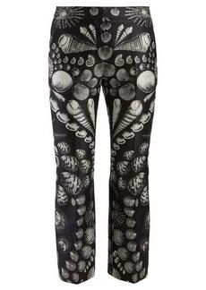 Alexander McQueen Shell-print wool-blend satin-twill trousers