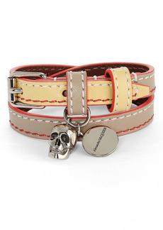 Alexander McQueen Skull Charm Leather Double Wrap Bracelet
