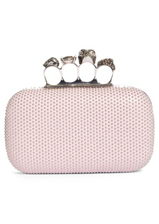 Alexander McQueen Skull Four Ring Studded Leather Box Clutch