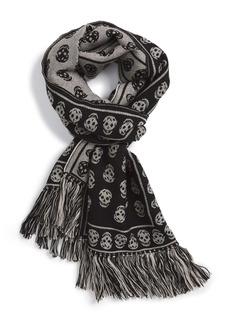 Alexander McQueen Skull Fringed Wool Scarf