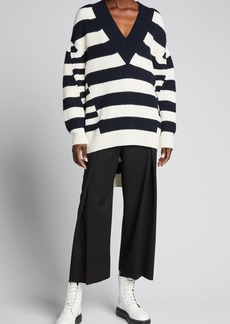 Alexander McQueen Striped V-Neck Oversized Sweater