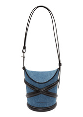 Alexander McQueen The Curve Small Denim & Leather Shoulder Bag
