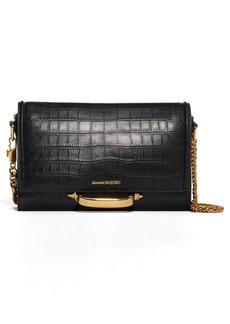 Alexander McQueen The Story Croc Embossed Leather Shoulder Bag