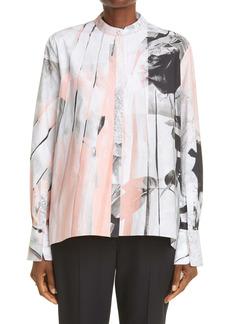 Alexander McQueen Trompe l'Oeil Floral Print Cotton Blouse