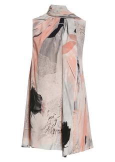 Alexander McQueen Trompe l'Oeil Floral Print Scarf Neck Silk Dress