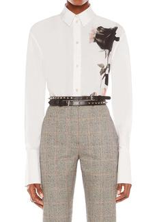Alexander McQueen Trompe l'Oeil Rose Print Women's Button-Up Shirt