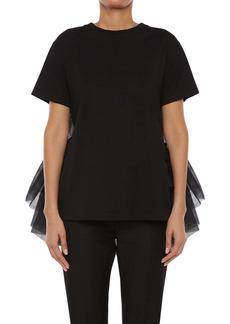 Alexander McQueen Tulle Back Cotton Jersey T-Shirt