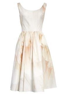 Alexander McQueen Tulle Toile Print Cotton Poplin Dress