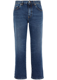 Alexander Mcqueen Woman Cropped Mid-rise Straight-leg Jeans Mid Denim