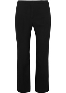 Alexander Mcqueen Woman Cropped Satin-trimmed Wool-blend Straight-leg Pants Black