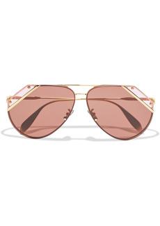 Alexander Mcqueen Woman Aviator-style Gold-tone Sunglasses Gold