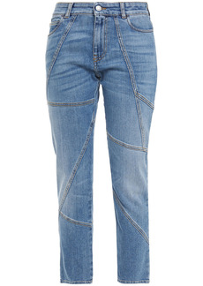 Alexander Mcqueen Woman Paneled Mid-rise Slim-leg Jeans Mid Denim