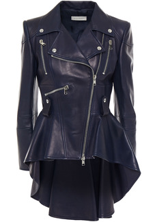Alexander Mcqueen Woman Pleated Leather Biker Jacket Navy