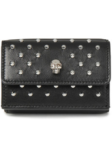 Alexander Mcqueen Woman Skull Studded Leather Wallet Black