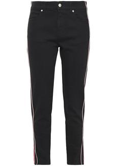 Alexander Mcqueen Woman Striped Mid-rise Slim-leg Jeans Black