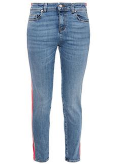 Alexander Mcqueen Woman Striped Mid-rise Slim-leg Jeans Mid Denim