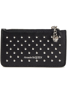 Alexander Mcqueen Woman Studded Leather Cardholder Black
