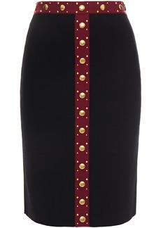Alexander Mcqueen Woman Studded Wool-blend Skirt Black