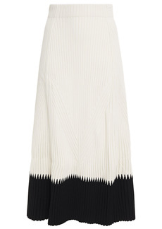 Alexander Mcqueen Woman Two-tone Ribbed-knit Midi Skirt Ivory