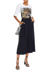 Alexander Mcqueen Woman Wool-crepe Culottes Navy