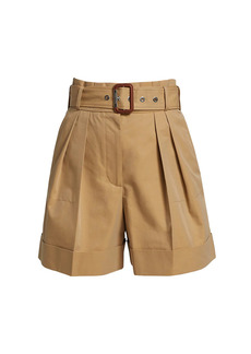 Alexander McQueen Belted High-Waist Cotton Twill Shorts