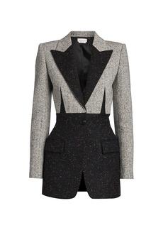Alexander McQueen Bi-Color Wool-Blend Blazer Jacket