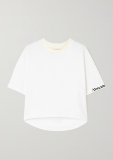 Alexander McQueen Cropped Embroidered Cotton-jersey T-shirt