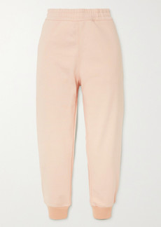 Alexander McQueen Cropped Embroidered Cotton-jersey Track Pants
