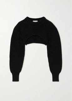 Alexander McQueen Cropped Ribbed Cotton Sweater