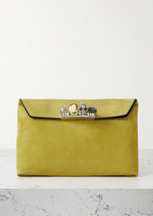 Alexander McQueen Four Ring Embellished Suede Pouch