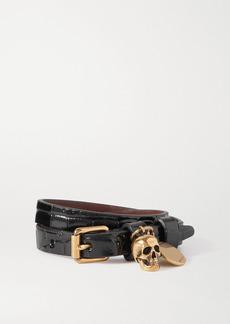 Alexander McQueen Gold-tone And Croc-effect Leather Wrap Bracelet