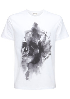 Alexander McQueen Ink Skull Print Cotton T-shirt
