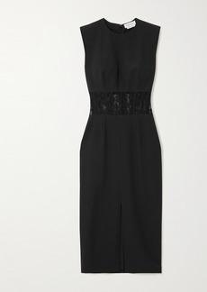 Alexander McQueen Lace-trimmed Crepe Midi Dress