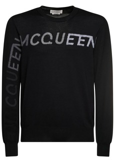 Alexander McQueen Logo Needle Punch Wool Sweater