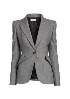 Alexander McQueen Peak Shoulder Wool Blazer Jacket